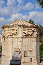 Tower of the winds ancient clocktower for monitoring weather and time later a church wind gods carved on marble frieze athens Stock Photos