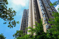 Towering modern buildings in sunny summer sky chengdu china Stock Photos
