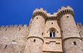 Towers and battlements of the order of the knights castle in rhodes greece Stock Images