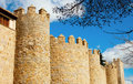 Towers of castle avila spain at castilla and leon in Royalty Free Stock Photo