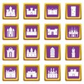 Towers and castles icons set purple Royalty Free Stock Photo