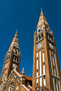The towers of the cathedral in Szeged Stock Image