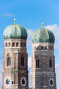 Towers of cathedrale church our lady munich and domes the late gothic styled short name frauenkirche full name dom zu unserer Stock Photo