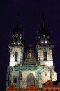 Towers of church of our lady in front of tyn the by night prague Stock Photography