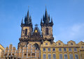 Towers of the church of our lady frontal view this is a dominant feature old town district prague czech Stock Photography