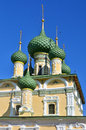 Towers and golden cupolas of church in russia uglich Stock Photo