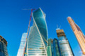 Towers of international business center moscow city russia august evolution twisted left federation under construction Royalty Free Stock Images