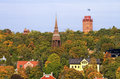 Towers and rooftops in stockholm view over djurgården autumn Stock Photo