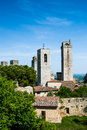 Towers of san gimignano toscana landmark is a small walled medieval hill town in the province siena tuscany north central italy Royalty Free Stock Images