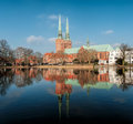 The towers of st mary church lübeck scene cityscape was shot in morning is second largest city in schleswig holstein in northern Stock Images