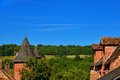 Towers and trees at collonges la rouge in correze france Royalty Free Stock Photography