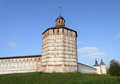 Towers and walls of ancient russian monastery in Kirillov Royalty Free Stock Photo