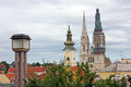 Towers of zagreb croatia view over the roofs to the cathedral and the tower the church st mary Stock Image