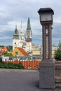 Towers of zagreb croatia view over the roofs to the cathedral and the tower the church st mary Stock Photography