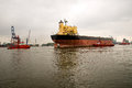 Towing the vessel tanker ship at dock in gdansknship repair yard Stock Photography