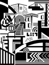 Town abstract image of the elements of the city the background black and white drawing Stock Image