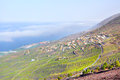 Town beyond clouds small la palma canary islands Royalty Free Stock Photography