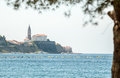 Town on cape in Adriatic sea Royalty Free Stock Photo