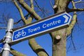 Town centre sign a blue information point the way to the Royalty Free Stock Photos