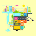 Town and city vector illustration with infograph elements Stock Image