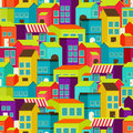 Town concept background pattern seamless flat with colorful houses Royalty Free Stock Photo