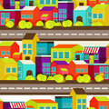 Town concept background pattern seamless flat with colorful houses Royalty Free Stock Image