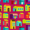 Town concept background pattern seamless flat with colorful houses Stock Photography