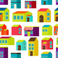 Town concept background pattern seamless flat with colorful houses Stock Photos