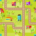 Town concept background pattern seamless flat with colorful houses Stock Image