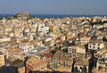Town of corfu island in greece old view from the castle Stock Photo