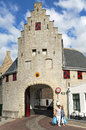 Town gate noordhavenpoort and shoppers zierikzee netherlands zealand zeeland province island of schouwen duiveland city small in Stock Images
