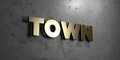 Town - Gold sign mounted on glossy marble wall - 3D rendered royalty free stock illustration