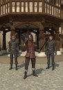 Town guards on the streets of a medieval or fantasy d digitally rendered illustration Stock Photography