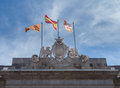 Town hall or casa de la ciutat barcelona flags flying on top of the in spain Stock Image