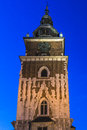 Town hall in the evening on the main square in krakow Stock Photos