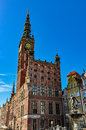 Town hall in Gdansk and the fountain of Neptune Royalty Free Stock Photo