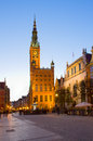 Town hall of gdansk at night poland Stock Photography