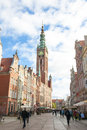 Town hall in gdansk poland street with the city of was nearly total destroyed world war ii and until now the rebuild is Royalty Free Stock Images