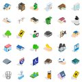 Town hall icons set, isometric style Royalty Free Stock Photo