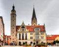 Town hall and market church of ingolstadt bavaria germany Royalty Free Stock Image