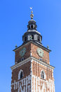 Town hall tower on main market square , Krakow, Poland Royalty Free Stock Photo