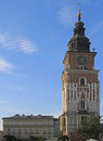 Town hall tower on main market square in Krakow, Poland Royalty Free Stock Photo