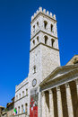 Town Hall tower and the temple of Minerva on the Municipality Sq Royalty Free Stock Photo