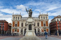 Town hall valladolid spain major plaza of with the statue of the count ansurez Stock Photos