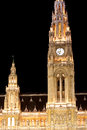 Town hall in vienna austria night scene with Stock Image