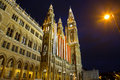 Town hall in Vienna at night Royalty Free Stock Photos