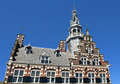 Town hall a world heritage site in city franeker netherlands the frontage with tower of the medieval the facade is the coat of Royalty Free Stock Photo