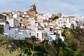 Town on the hill white spanish medieval Royalty Free Stock Image
