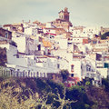 Town on the hill white spanish medieval retro effect Stock Image