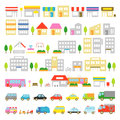 Town icon stores houses vehicles Royalty Free Stock Photo